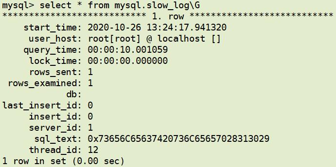 table方式查看MySQL慢日志